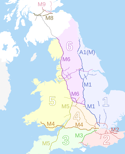 Motorway zones in England, Scotland, and Wales. Image by Nilfanion and Dr. Greg.